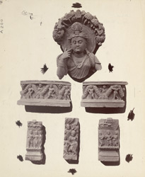 Fragments of a statue of Bodhisattva and other ornamental pieces from the Rhode Tope, Sanghao, Peshawar District